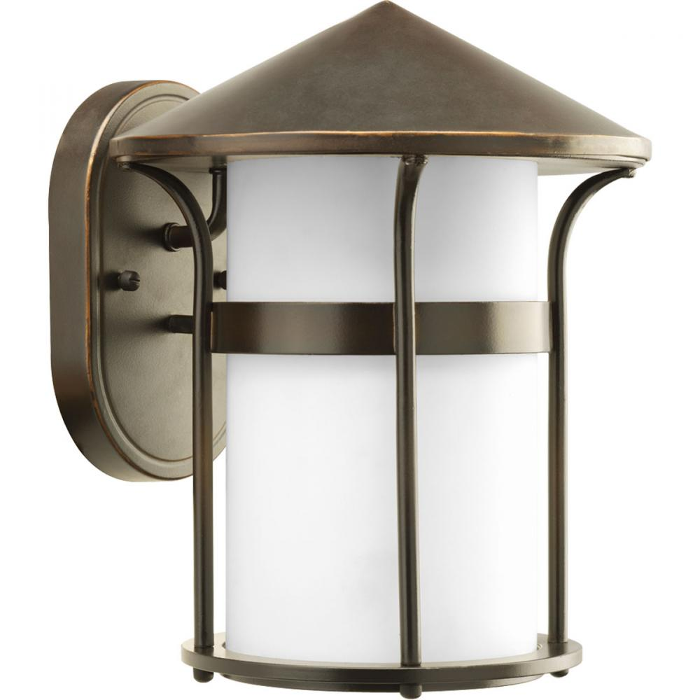 One Light Antique Bronze Opal Etched Glass Wall Lantern
