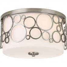Progress P3752-09 - Three Light Brushed Nickel Opal Etched Glass Drum Shade Flush Mount