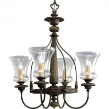Progress P4407-77 - Four Light Forged Bronze Clear Seeded Glass Up Chandelier