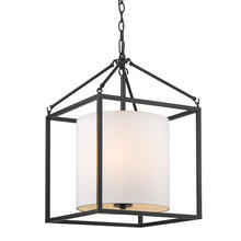 Golden 2243-3P BLK-MWS - Manhattan 3 Light Pendant in Matte Black