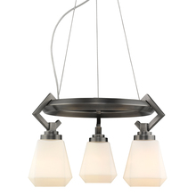 Golden 2712-3 AS-OP - Hollis 3 Light Chandelier in Aged Steel with Opal Glass