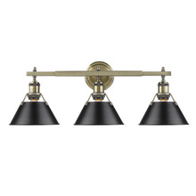 Golden 3306-BA3 AB-BLK - Orwell AB 3 Light Bath Vanity in Aged Brass with Black Shade