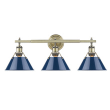 Golden 3306-BA3 AB-NVY - Orwell AB 3 Light Bath Vanity in Aged Brass with Navy Blue Shade