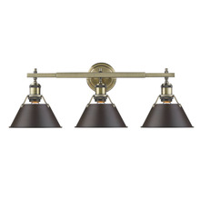 Golden 3306-BA3 AB-RBZ - Orwell AB 3 Light Bath Vanity in Aged Brass with Rubbed Bronze Shade