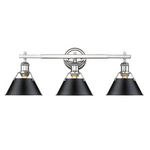 Golden 3306-BA3 CH-BLK - Orwell CH 3 Light Bath Vanity in Chrome with Black Shade