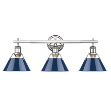 Golden 3306-BA3 CH-NVY - Orwell CH 3 Light Bath Vanity in Chrome with Navy Blue Shades