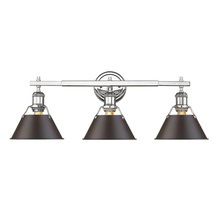 Golden 3306-BA3 CH-RBZ - Orwell CH 3 Light Bath Vanity in Chrome with Rubbed Bronze Shade