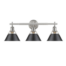 Golden 3306-BA3 PW-BLK - Orwell PW 3 Light Bath Vanity in Pewter with Black Shade