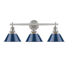 Golden 3306-BA3 PW-NVY - Orwell PW 3 Light Bath Vanity in Pewter with Navy Blue Shades