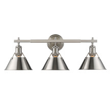 Golden 3306-BA3 PW-PW - Orwell PW 3 Light Bath Vanity in Pewter with Pewter Shade