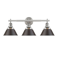 Golden 3306-BA3 PW-RBZ - Orwell PW 3 Light Bath Vanity in Pewter with Rubbed Bronze Shade