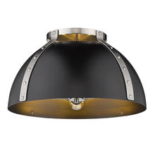 "Golden 6928-FM18 PW-BLK - Aldrich PW Flush Mount - 18"" in Pewter"