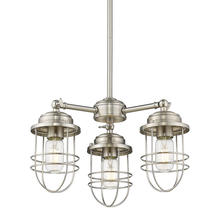 Golden 9808-3 PW - Seaport 3 Light Chandelier in Silver